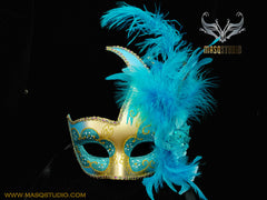 Venetian style side swan Feather Masquerade Ball Mask Teal Turquoise Gold