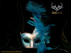 Venetian style side swan Feather Masquerade Ball Mask Teal Turquoise Silver