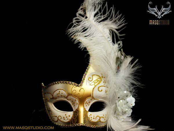 Venetian style side swan Feather Masquerade Ball Mask White Gold