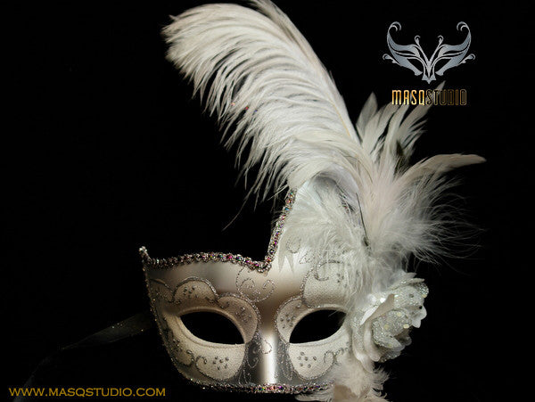 Venetian style side swan Feather Masquerade Ball Mask White Silver