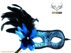 Women's Female Masquerade side feather eye Mask Black Blue