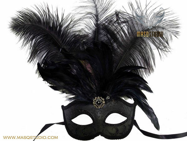 Fifty shades of Grey masquerade ball mask - Solid Black Feather