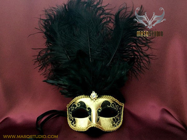 Fifty shades of Grey masquerade ball mask - Black Gold Feather