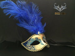 Fifty shades of Grey masquerade ball mask Royal Blue Gold