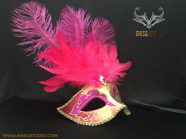 Fifty shades of Grey masquerade ball mask  Hot pink Fuchsia Gold Feather
