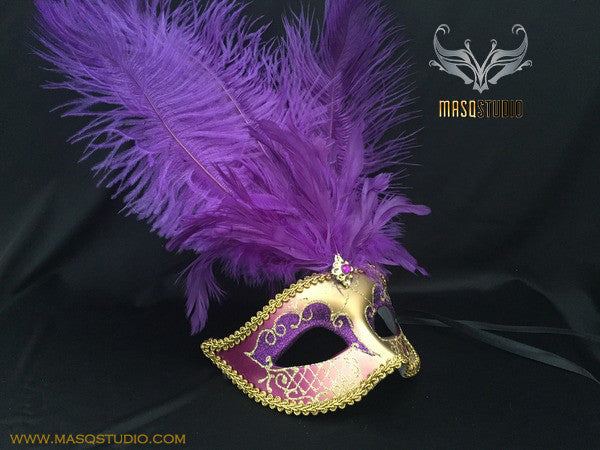 Fifty shades of Grey masquerade ball mask Lavender Purple Gold Feather
