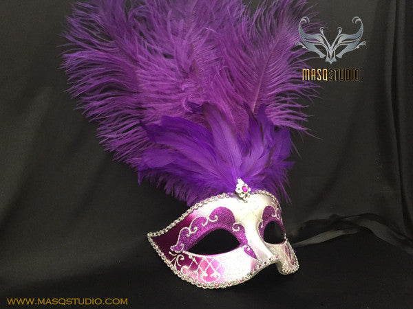 Fifty shades of Grey masquerade ball mask Lavender Purple Silver Feather