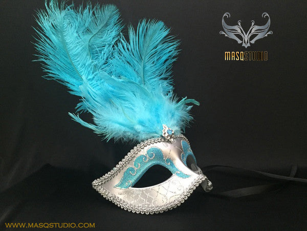 Fifty shades of Grey masquerade ball mask Teal Turquoise Light Blue Silver Feather