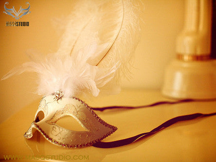 Fifty shades of Grey masquerade ball mask Wedding White Silver Feather
