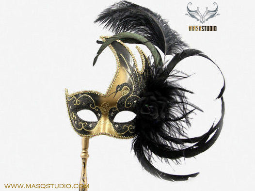 Venetian Style Ostrich Feather Swan Stick Mask - Blue Gold