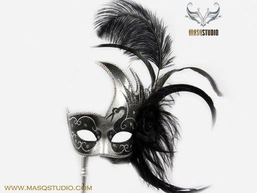 Venetian Style Ostrich Feather Swan Stick Mask - Black Silver