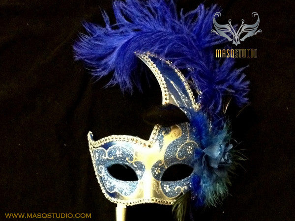 Venetian Style Ostrich Feather Swan Stick Mask - Blue Silver
