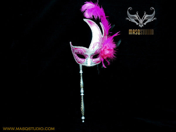Venetian Style Ostrich Feather Swan Stick Mask - Fuchsia Silver