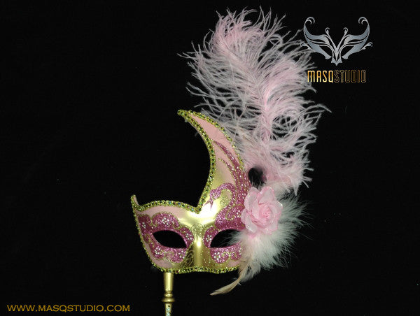 Venetian Style Ostrich Feather Swan Stick Mask - Pink Gold