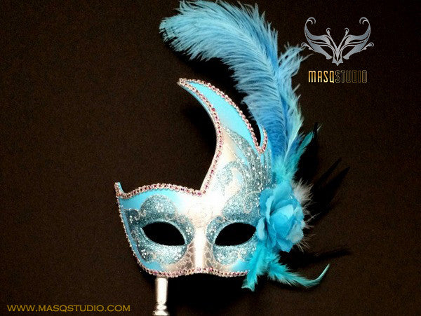 Venetian Style Ostrich Feather Swan Stick Mask - Turquoise Silver