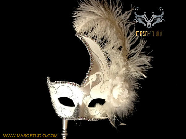 Venetian Style Ostrich Feather Swan Stick Mask - White Silver