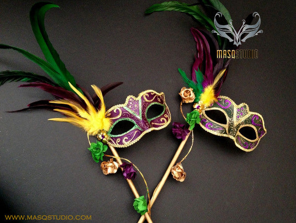 Venetian Style side roses feather Mardi Gras Purple Stick Mask