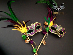 Venetian Style side roses feather Mardi Gras Stick Mask