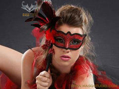 Venetian Style side roses feather Black Red Stick Mask