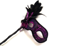 Pretty side feathered stick Masquerade Mask Purple Royal blue black