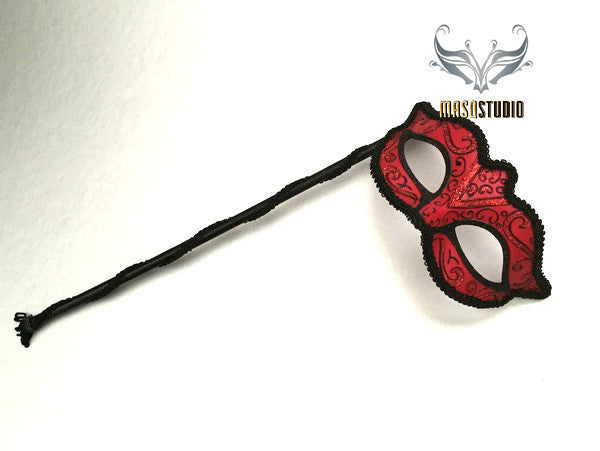 Pretty Black Trimmed Red Stick Mask