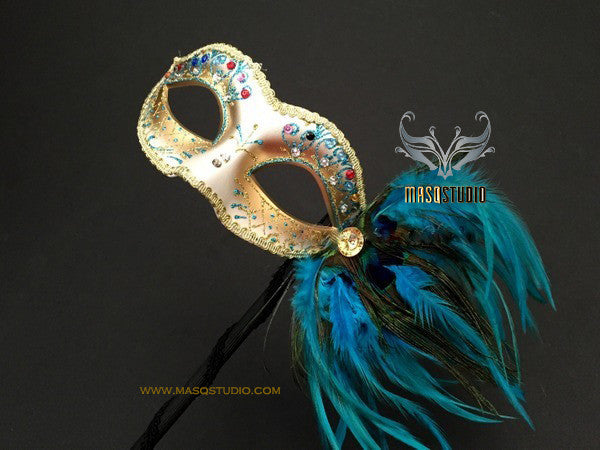 Pretty Peacock Turquoise Stick Mask