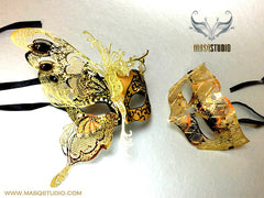 Luxury Half Butterfly Couple Masquerade Mask Set Limited Edition