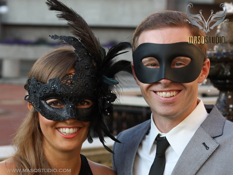 Venetian Couple Feather Black Lace Masquerade Ball Mask