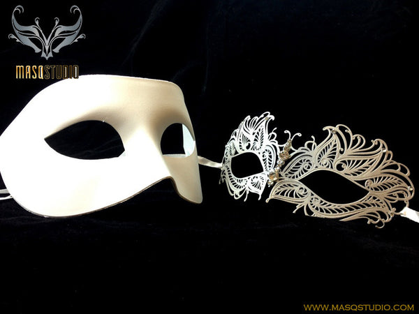 Luxury Venetian Couple Princess White Masquerade Mask Set