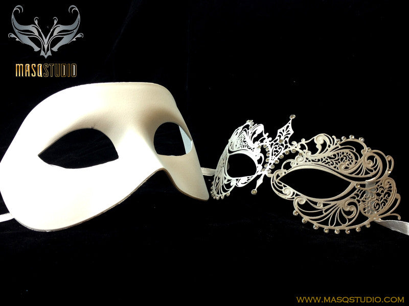 Laser cut metal Couple Masquerade Mask Set Chloe White