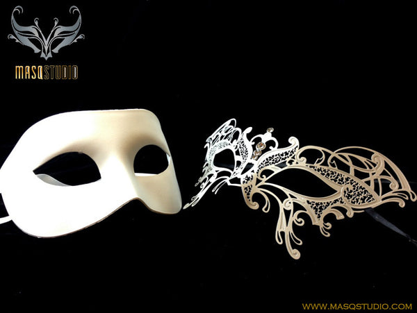 Luxury Venetian Couple Butterfly White Masquerade Mask Set