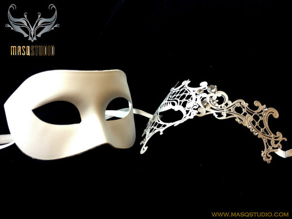 Luxury Venetian Couple White Phantom Masquerade Mask Set