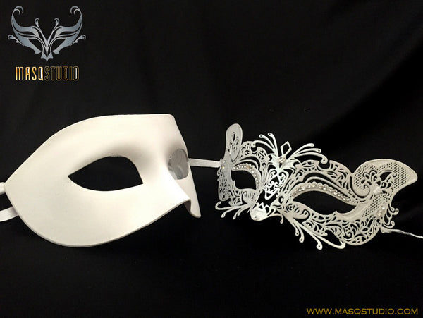 Luxury Venetian Couple Cat White Masquerade Mask Set