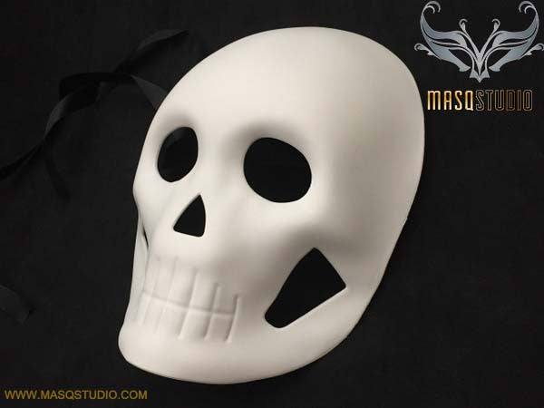Blank White Full Womens Face Halloween Day of the Dead Masquerade Skull Mask