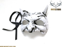 Animal White Grey Masquerade ball mask Demon Mask Wear or Wall Deco