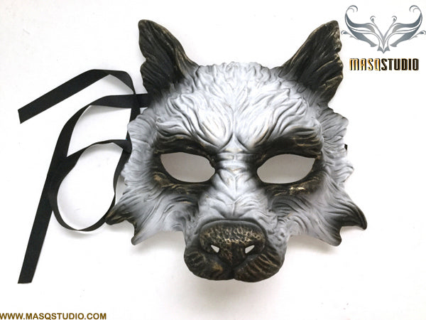 Masquerade ball mask White Gold WOLF Mask Wear or Wall Deco