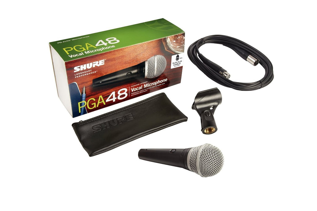 Shure PGA48-XLR Cardioid Dynamic Vocal Microphone with XLR-XLR Cable