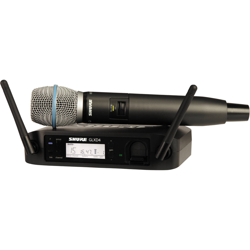 Shure GLXD24-B87A-Z2 Digital 2.4GHz Wireless Handheld with Beta 87 in Z2 Band