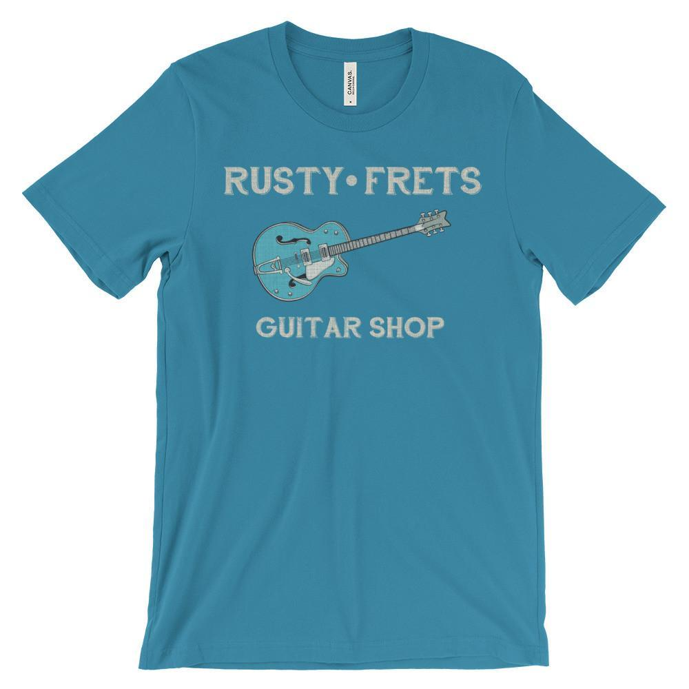 Rusty Frets Guitar Shop Aqua / S Rusty Frets Rockabilly Guitar Shirt