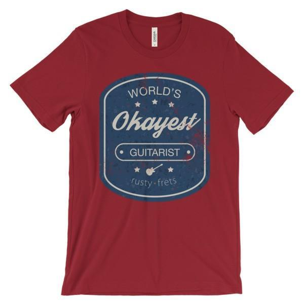 "Rusty Frets Guitar Shop Red / S ""World's OKAYEST Guitarist"" T-Shirt"