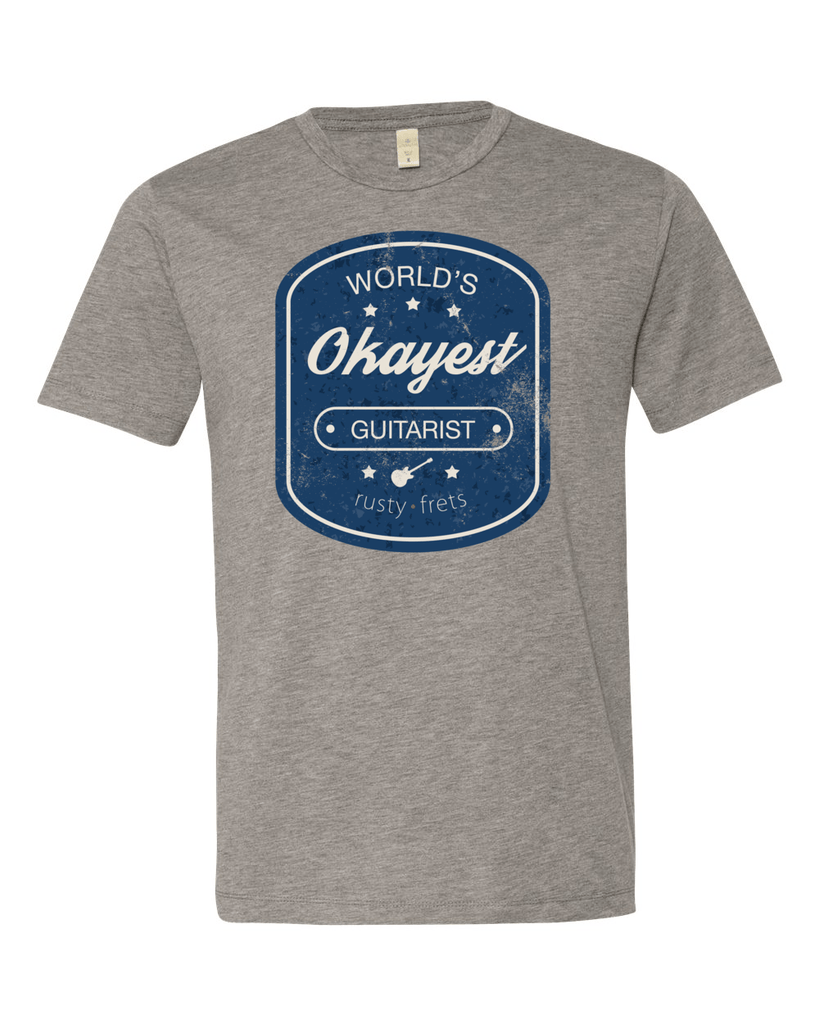 "Rusty Frets Guitar Shop Small / Heather Grey ""Worlds Okayest Guitarist"" T-Shirt"