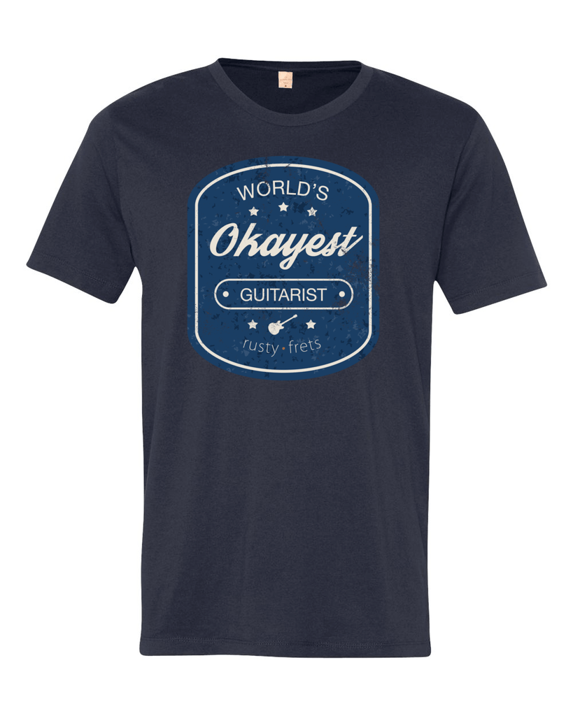"Rusty Frets Guitar Shop Small / Midnight ""Worlds Okayest Guitarist"" T-Shirt"