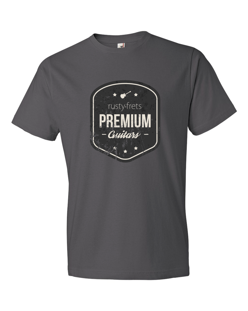 Rusty Frets Online Guitar Shop Rusty Frets Guitar Shop Shirt | Vintage Logo | Charcoal