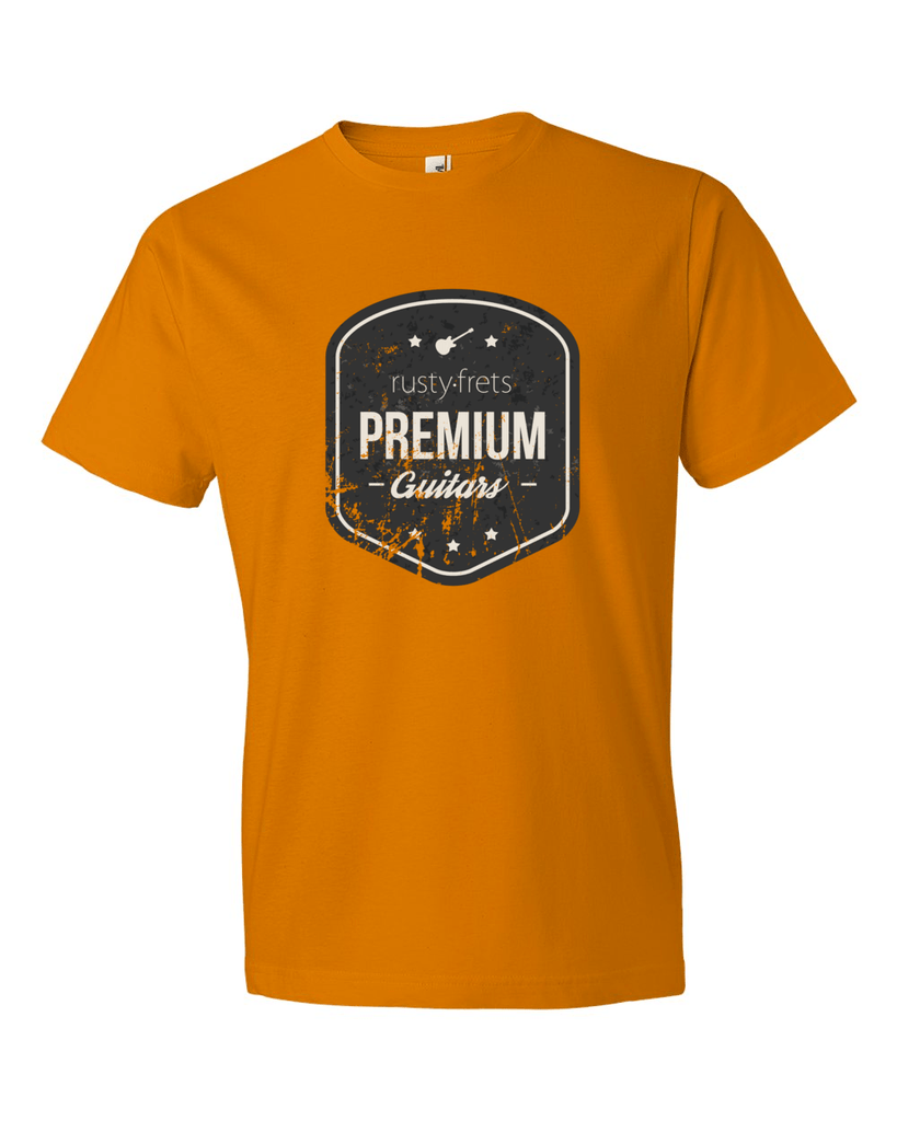 Rusty Frets Online Guitar Shop Rusty Frets Guitar Shop Shirt | Vintage Logo | Mandarin Orange