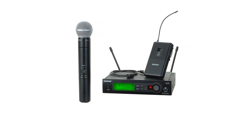 Shure SLX124/85/SM58-G5 Combo Wireless System W/SM58 Hand-Held TX and Body Pac TX W/ WL185 Microphone - G5 Band (494-518 MHz)