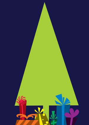 Blue Christmas Tree - Holiday Greeting Card by BoyTown News