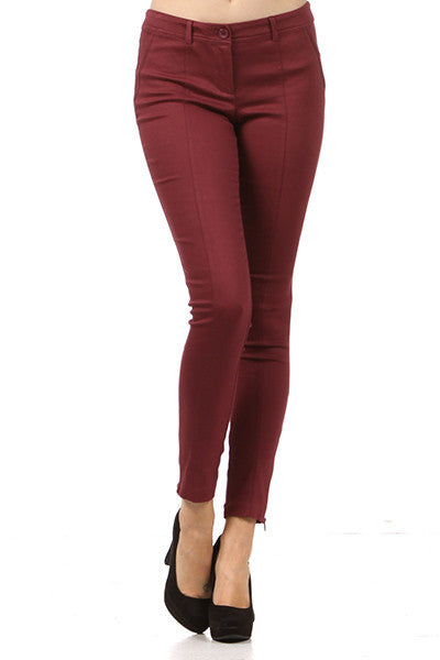 Wine Stretch Crop Pant - Fierce Finds Mobile Boutique  - 2