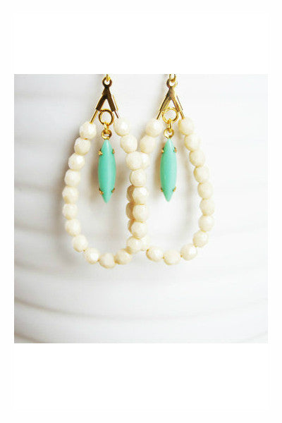Handcrafted Mint and Ivory Earrings - Fierce Finds Mobile Boutique  - 3