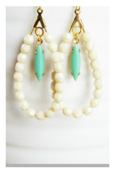 Handcrafted Mint and Ivory Earrings - Fierce Finds Mobile Boutique  - 4