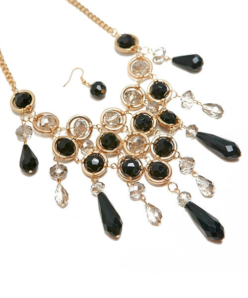 Black & Gold V Drop Necklace - Fierce Finds Mobile Boutique  - 3